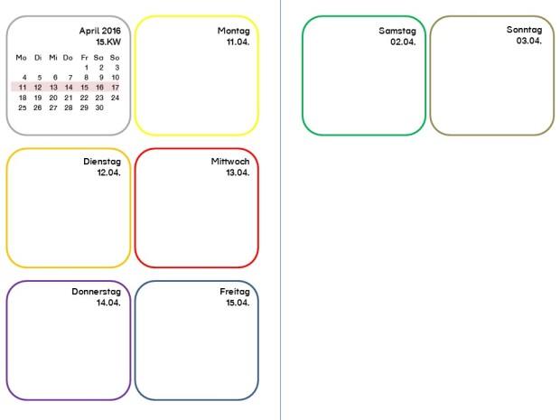 2016 Wochenkalender für beidseitigen Ausdruck