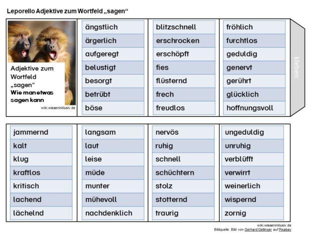 Wie man etwas sagen kann – Adjektive Wortfeld sagen