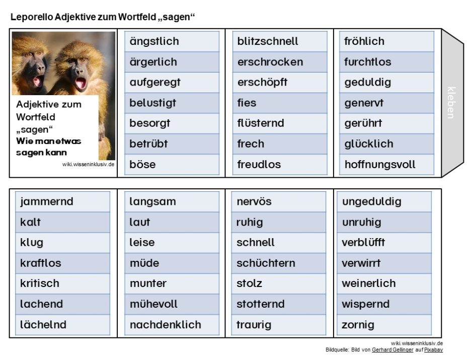 Adjektive zum Wortfeld sagen, wie z.B. ängstlich, nervös, verblüfft usw.