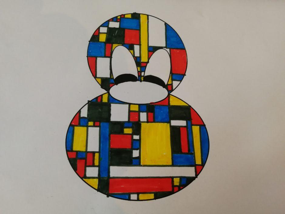 Mondrian Vorlage ausgemalt mit Filzstiften
