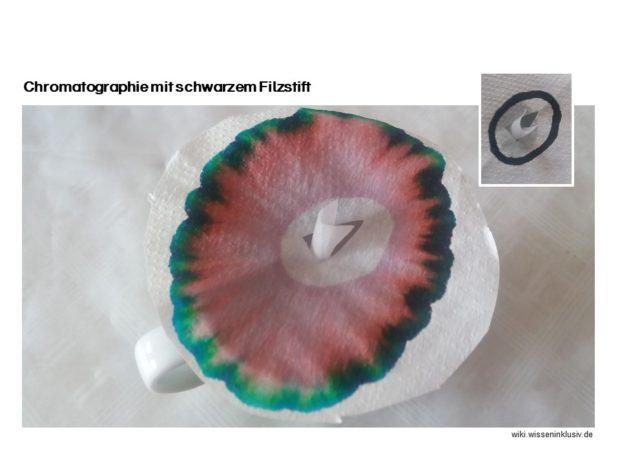Chromatographie mit schwarzem Filzstift