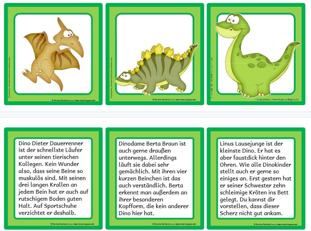 Dinos – Lesezuordnungs-Karten