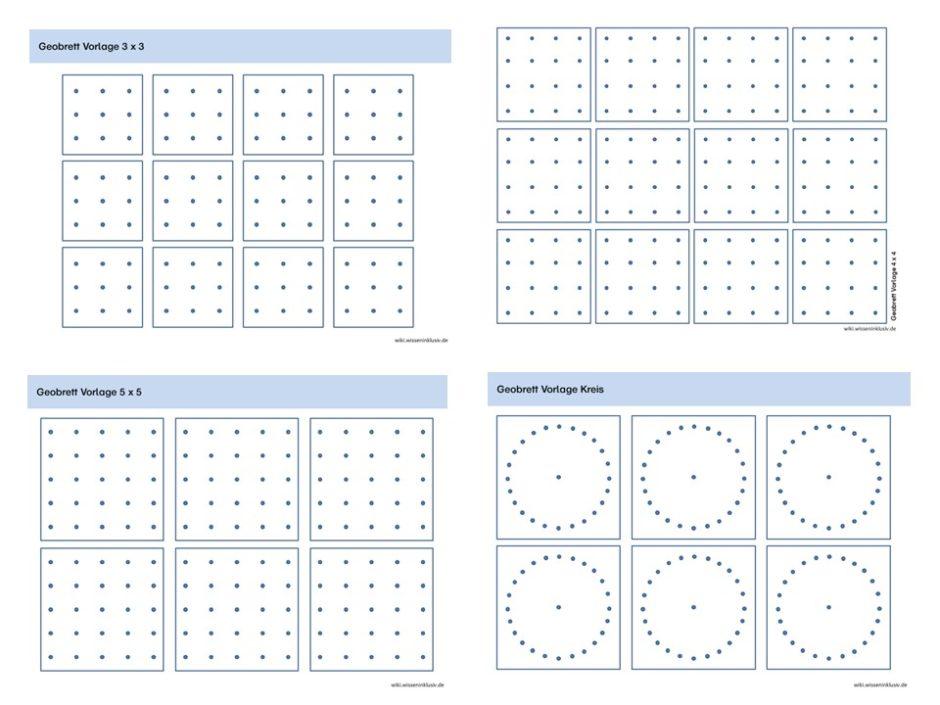 Geobrett Vorlagen in 3x3, 4x4, 5x5 und als Kreis