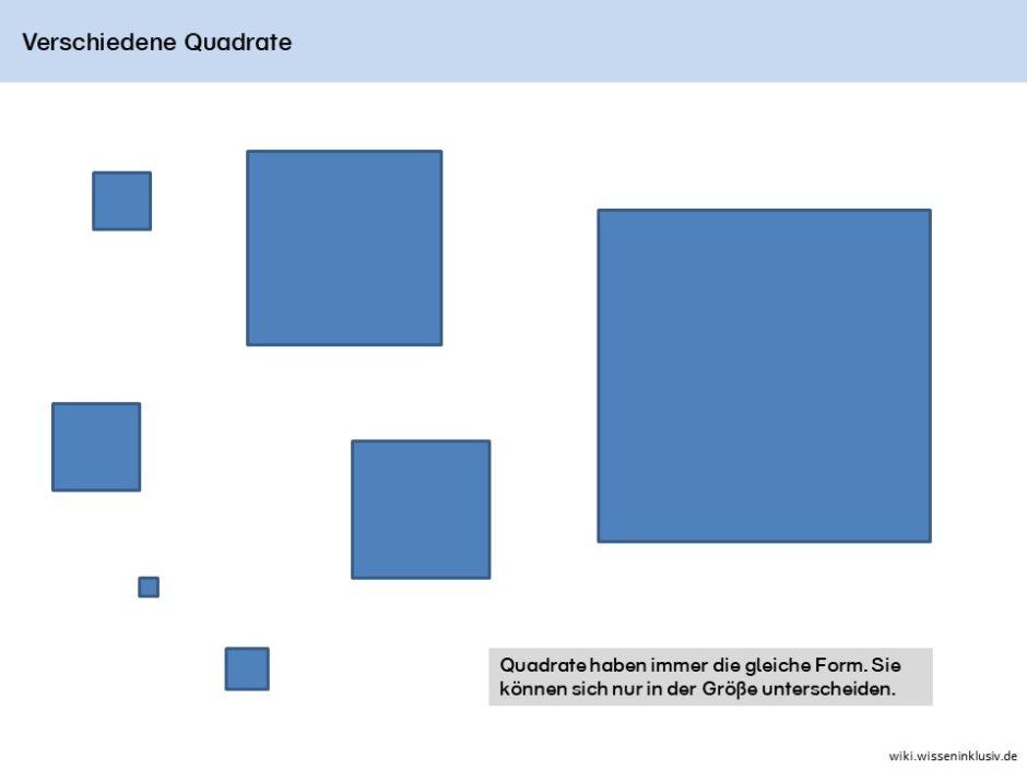 Verschieden große Quadrate im Überblick, Quadrate haben immer die gleiche Form. Sie können sich nur in der Größe unterscheiden.