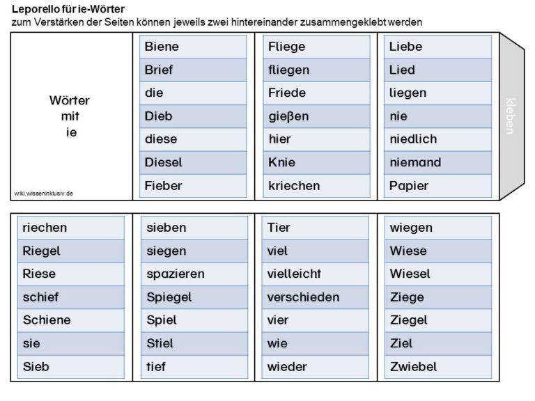 Wörter mit ie (i und ie unterscheiden)