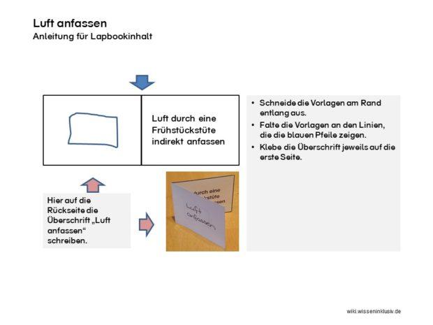 Luft anfassen, Lapbookelement für Luft-Lapbook
