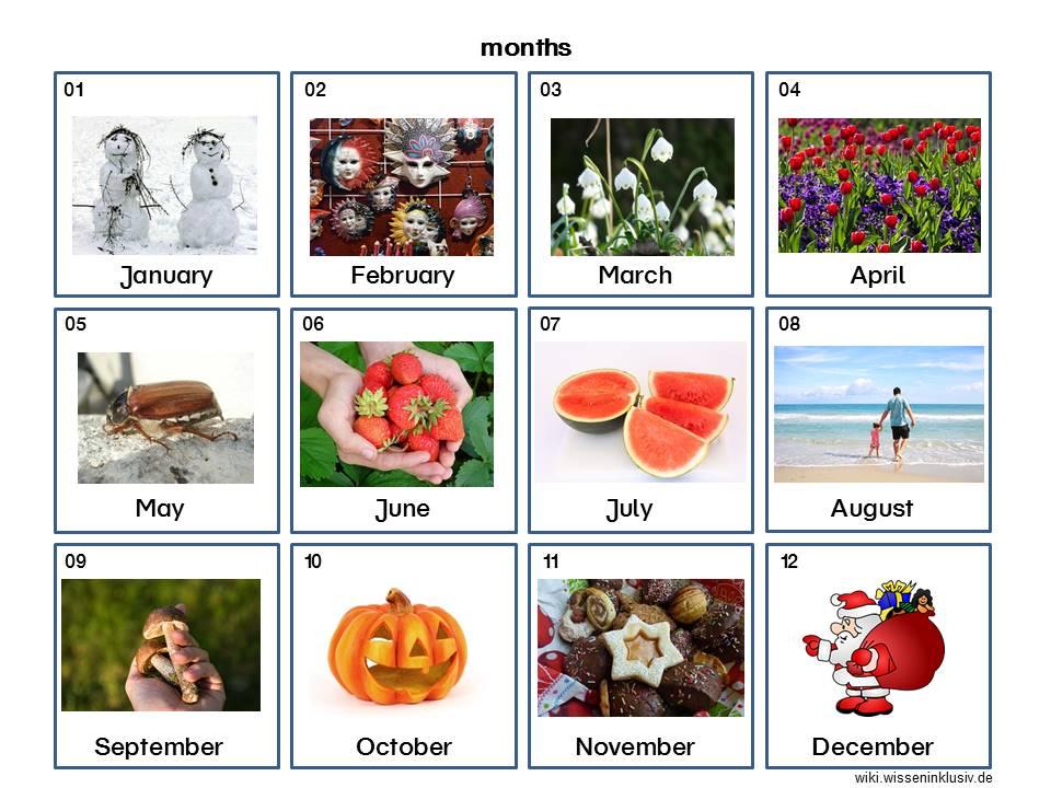 Jahreszeiten und Monate Englisch