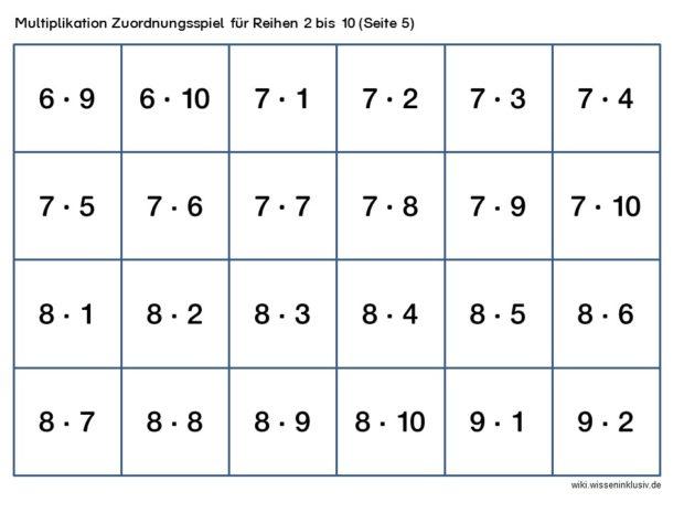 Multiplikation Zuordnungsspiel Beispielseite