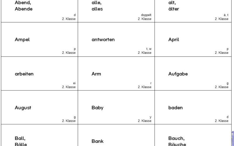 Wörter 2.Klasse Rechtschreibung Karten