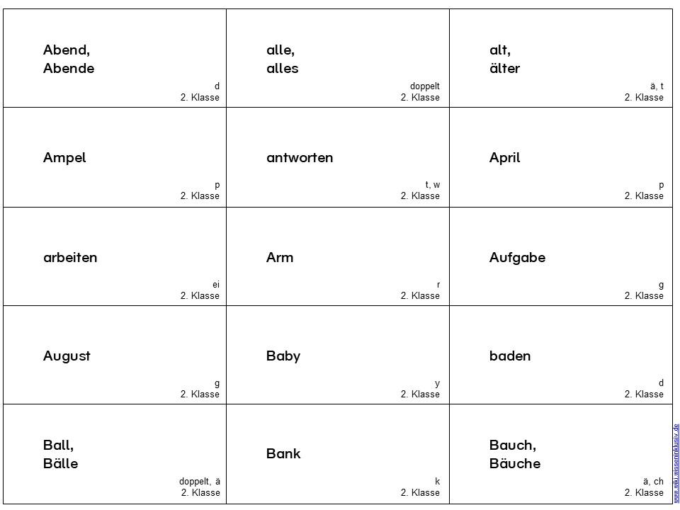 Rechtschreib-Spiel mit Wörtern der 2. Klasse