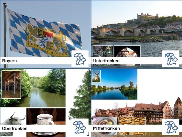 Regierungsbezirke Bayern Karteikarten mit Fotos