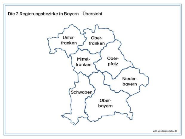 Regierungsbezirke von Bayern Übersicht