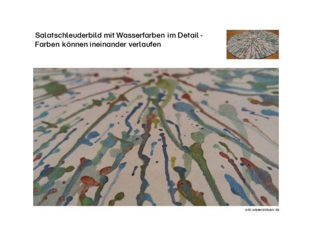 Salatschleuderbild mit Wasserfarben im Detail