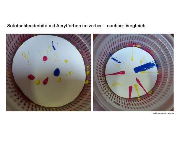 Salatschleuderbilder mit Acrylfarben