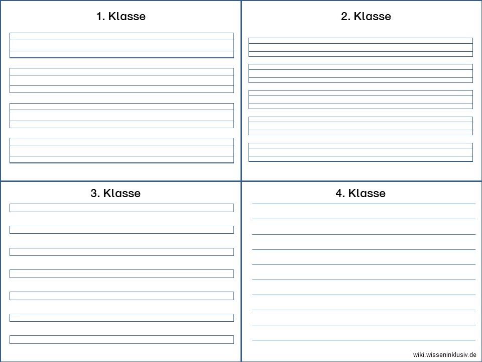 Schreiblineatur-Vorlagen für 1. bis 4.Klasse