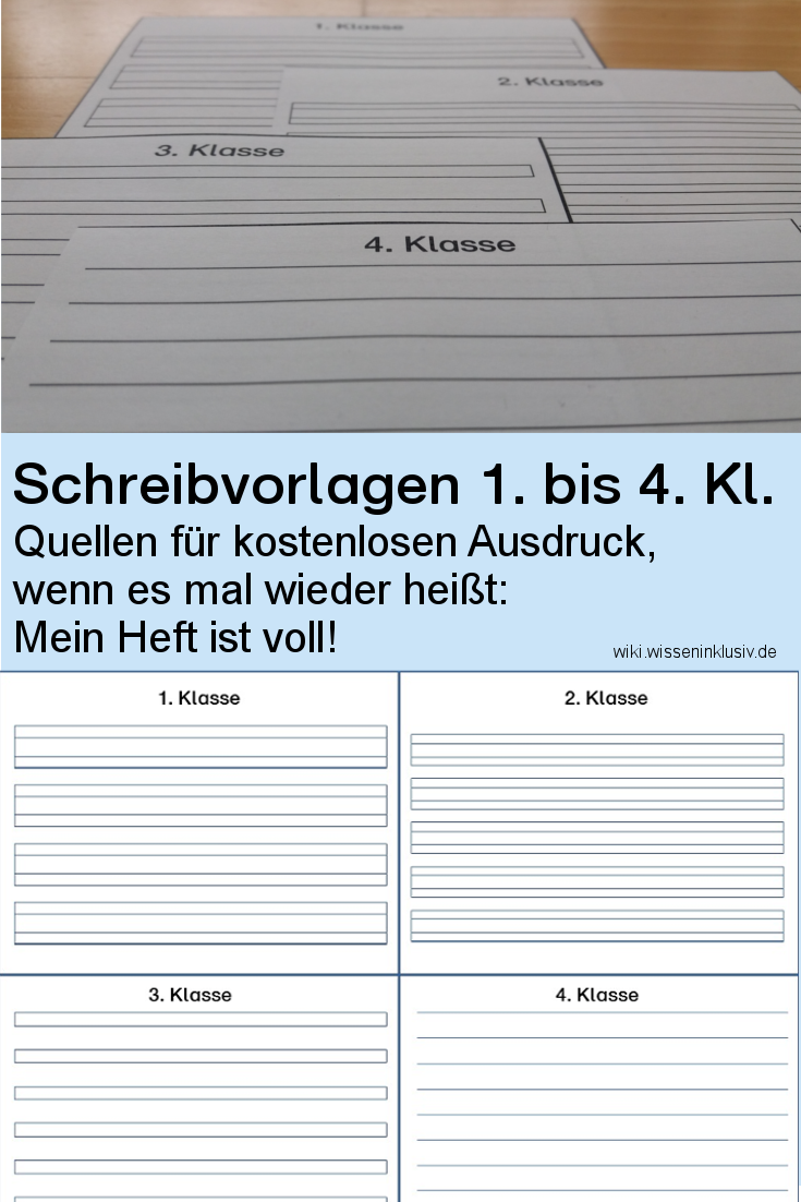 Schreiblineatur-Vorlagen für 1. bis 4.Klasse • Materialien ...