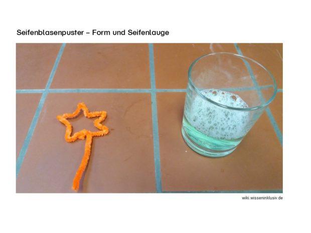 Seifenblasenpuster Form und Seifenlauge