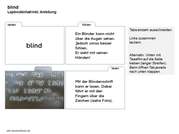 Sinne Lapbook blind