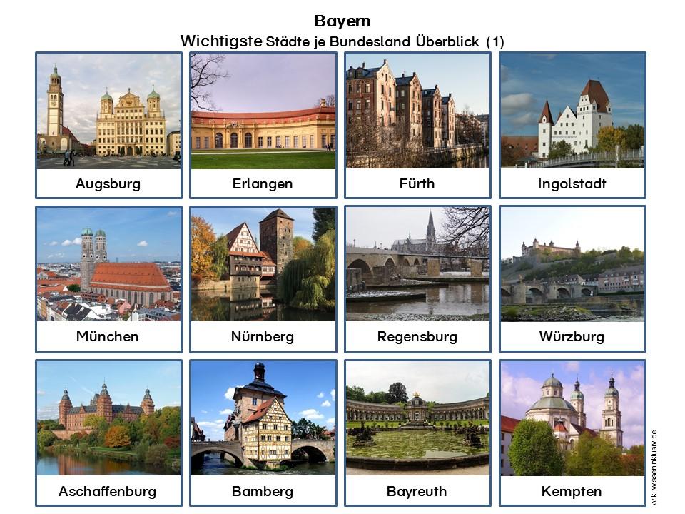 Bundesland Karte Mit Städten.Welche Städte Sind Wo In Bayern Materialien Grundschule Wiki