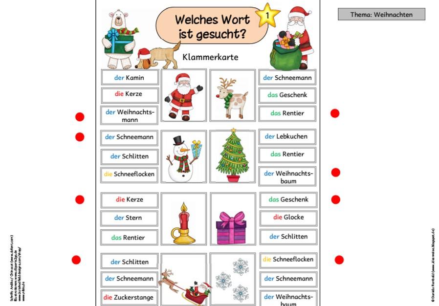 Weihnachtswörter Klammerkarte für DAF