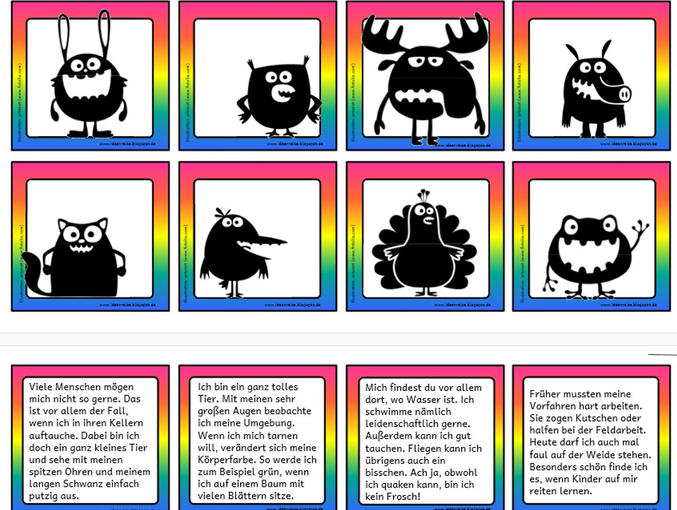 Witzige Tiere – Lesezuordnung