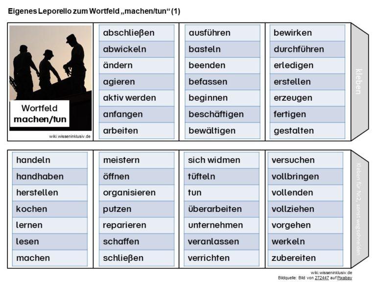Wörter für machen und tun