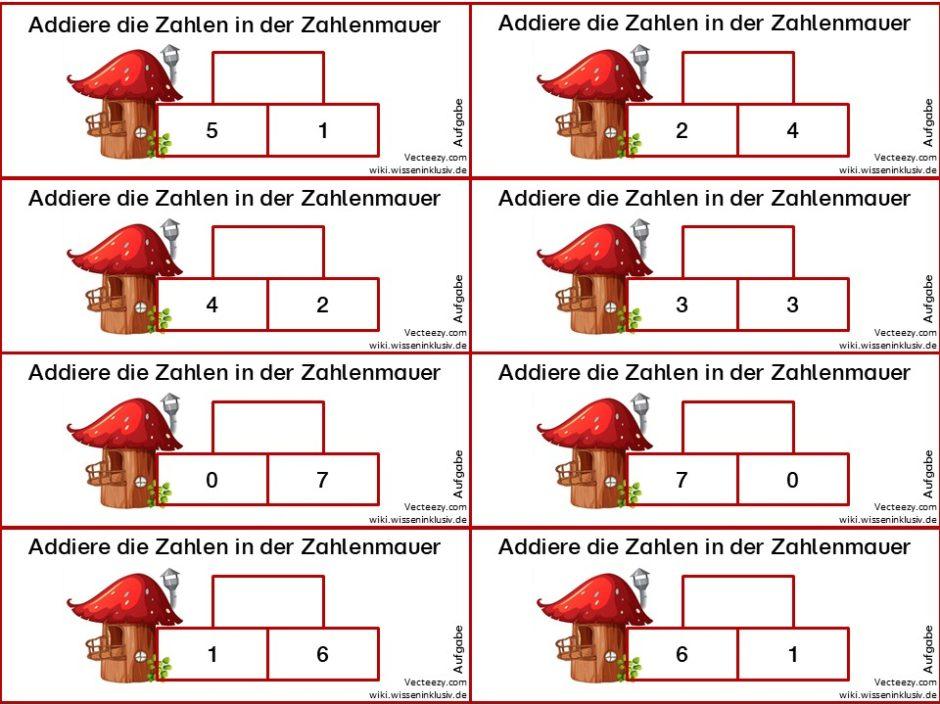 Addiere die Zahlen in der Zahlenmauer, Zahlenmauer mit zwei Grundsteinen
