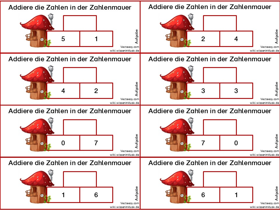 Zahlenmauer im Zahlenraum 10 – Addieren mit zwei Grundsteinen