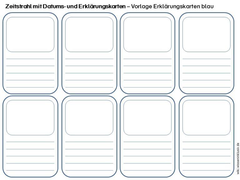 Zeitstrahl mit Datums- und Erklärungskarten